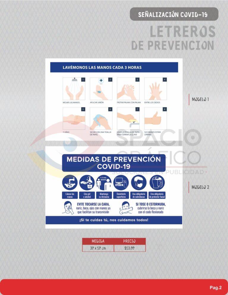 Señalamientos para prevención Covid